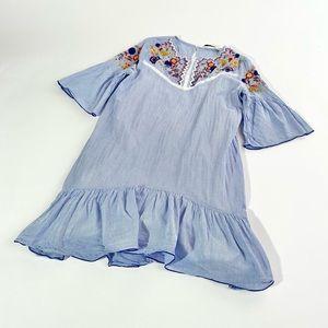 Zara Dress | pinstripe drop waist with embroidery